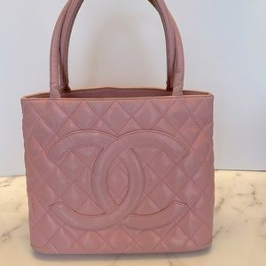 Chanel Caviar Medallion Tote Authentic pink
